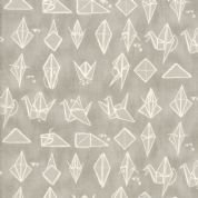 Moda - Origami - 6550 - Origami Crane, Cream on Grey - 1470 15 - Cotton Fabric